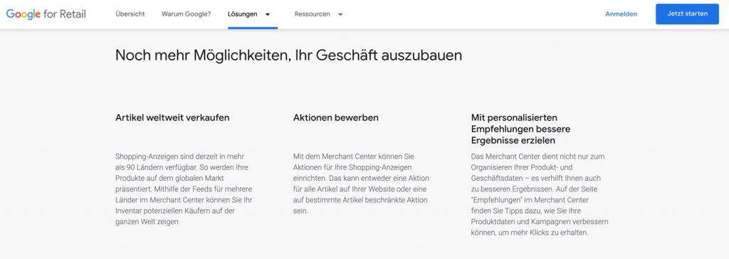 Landing Page Google Merchant Center